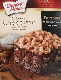 Duncan Hines German Chocolate Cake Box