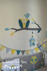 chambre bébé bleu canard décoration chambre bébé chouette hibou arbre oiseau nichoir bleu