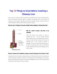 top 10 things to before installing a chimney liner