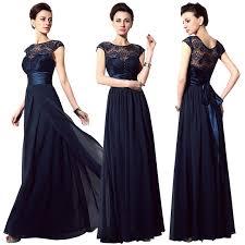 Cap Sleeve Bridesmaid Dresses Floor Length by Cap Sleeve Navy Blue Chiffon Prom Dress A Line Lace Top Long
