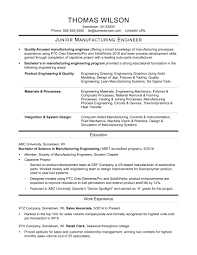 Sample Resume For An Entry Level Manufacturing Engineer
