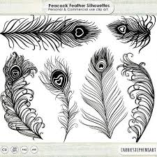 Peacock Feather Clip Art Silhouettes Wedding Invitation Graphics Photoshop Brush PNG Digital Stamps Bird