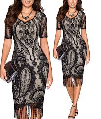 tempt me womens vintage 1920s lace crochet floral bodycon fringed
