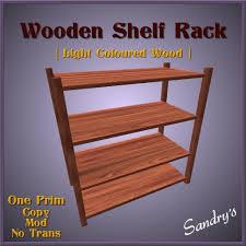second life marketplace wooden four shelf rack light