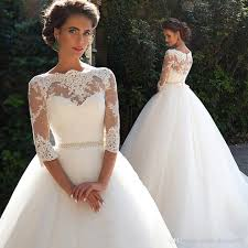 discount vintage lace long sleeve wedding dresses 2017 new
