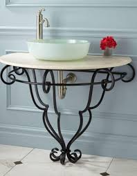 33 Lovely Ideas Vessel Sink Stand Set On A Wrought Iron Frame With Flowing Lines That Gather At The Bathroom Furniture Fixtures And Decor Stands Cabinets
