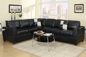 Poundex 3pc Sectional Sofa Set by 3 Pc Black Faux Leather Regarding Modern Household Sectional Sofa