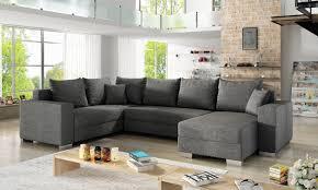 u form ecksofa sofa wohnlandschaft marco bettkasten schlaffunktion grau strukturstoff ausführu