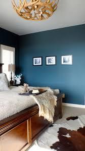 wandfarbe schlafzimmer hirschgeweih deko kronleuchter holz
