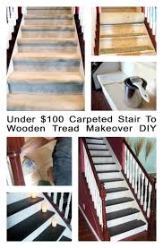Stop Squeaky Floors Under Carpet by Remodelaholic Under 100 Carpeted Stair To Wooden Tread Makeover Diy