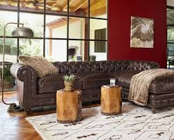 lovely brown leather sectional living room ideas with button