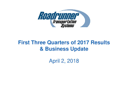 Roadrunner Transportation Systems, Inc. 2018 Q3 - Results - Earnings ... Ltl Provider Roadrunner Freight Talks About Logistics Technology Rrts Stock Price Transportation Systems Inc Form Fwp Transportatio Filed By Trucking Industry Gets Back On Track As Prices Recover Exporters Anxious On Trade A Trucker And Factory Home Echo Global Domingo At Roadrunner Transport Lamborghini Youtube Twitter Our A Shipment Shares Tumble Steep Profit Decline Wsj