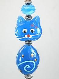blue glass kitty cat ceiling fan pull chain light pull ceiling