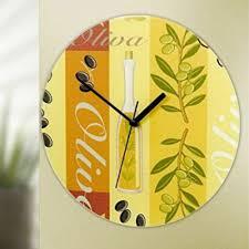 wenko design glas wanduhr olive ø 27 cm analog esszimmer küchen uhr
