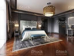 luxuriöses klassisches schlafzimmer mit schwarzen wänden und einem weißen bett tveinheit stehle sessel schwarz lackierte möbel stockfoto und mehr