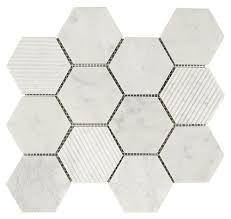 hexagon carrara marble mosaic tile mineral tiles