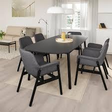 vedbo vedbo tisch und 6 stühle schwarz schwarz ikea