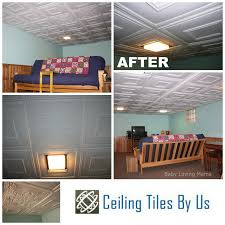 24x24 Pvc Ceiling Tiles by Basement Remodel With Ceiling Tiles By Us Giveaway Finding Zest