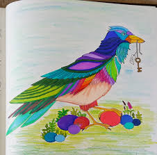 Colored Crow Bird Page From Enchanted Forest Coloring Book
