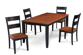 100 Cherry Table And 4 Chairs Fullerton Black And Top Solid Wood Extendable 5piece
