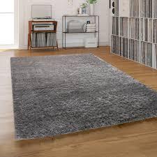 hochflor teppich shaggy waschbar für wohnzimmer und schlafzimmer einfarbig in grau