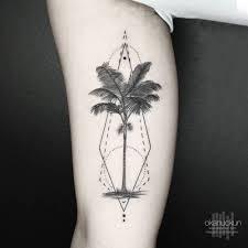 Inner Bicep Geometric Palm Tree Tattoo