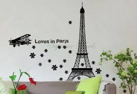 Perfect Ideas Wall Art Eiffel Tower Love In Paris Inspiration Black Sticker Icon Great Decoration Hanging