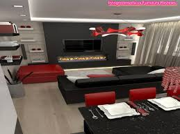 neoteric design black and red living room set all dining room
