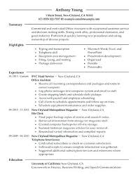 Resume Examples For Admin Jobs With Office Assistant Example Prepare Inspiring Title Samples 552