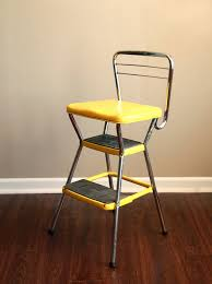Cosco Counter Chair Step Stool by Vintage Yellow Cosco Kitchen Step Stool By Caprockvintage On Etsy