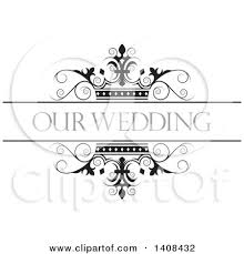 Black And White Wedding Swirl Crown Design Element With Text