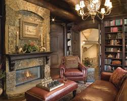 Luxury Residence Design In Victorian Rustic Styles Antique Home Office With Leather Sofa Classic Chandelier