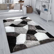 hochflor teppich wohnzimmer shaggy 3d effekt abstraktes muster flauschig grau weiß