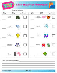 Give Your Child This Easy To Follow Printable Kids Pack Myself Packing List