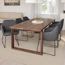mörbylånga tossberg tisch und 6 armlehnstühle eichenfurnier braun las metall grau 220x100 cm
