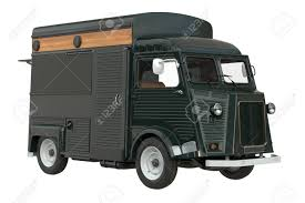 100 Green Food Truck Truck Mobile Green Cafe 3D Rendering