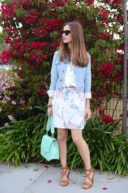 Floral Dress Light Denim Jacket And Brown Sandals Mlovesm