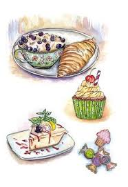 Food Illustrations Painting Illustrations Cake Painting Easy Paintings Funny Food Kitchen Things Food Art Art Journals Art Designs