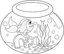 Fish Bowl Long Tailed In Coloring Page