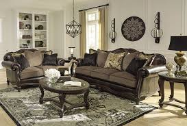 Traditional Dark Brown Norcastle Sofa Table by Ashley Furniture Signature Design Norcastle Glass Top Coffee