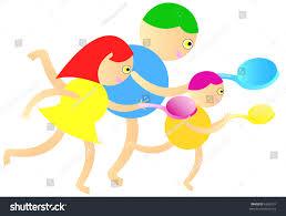 girl and boys egg and spoon race