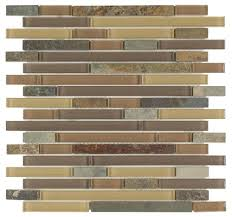 slate glass mosaic tile linear taupe kitchen remodel