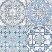 ke29950 blue white and beige mosaic tile wallpaper wallpaper