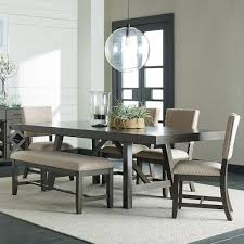Standard Furniture Omaha Grey 6 Piece Trestle Table Dining Set With Bench