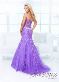 tony bowls 2014 pink purple lace strapless prom gown 114734