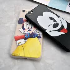 Cartoon Cute Mickey Minnie Drawing Coffee Soft Case For Iphone 5s SE 6 6s Plus 7