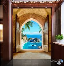 Wall Mural Decals Beach by 3d Beach Island Palm Tree Arch Entrance Wall Decal Home Gift 001