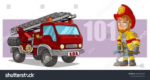 100 Big Red Fire Truck Cartoon Standing Head Smiling Fighter Character Stock Vector