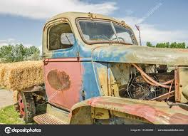 Close Old Colorful Vintage Truck Missing Some Parts Rusting Places ...