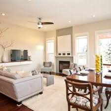 Combination Living Room Dining With White And Neutral Decor